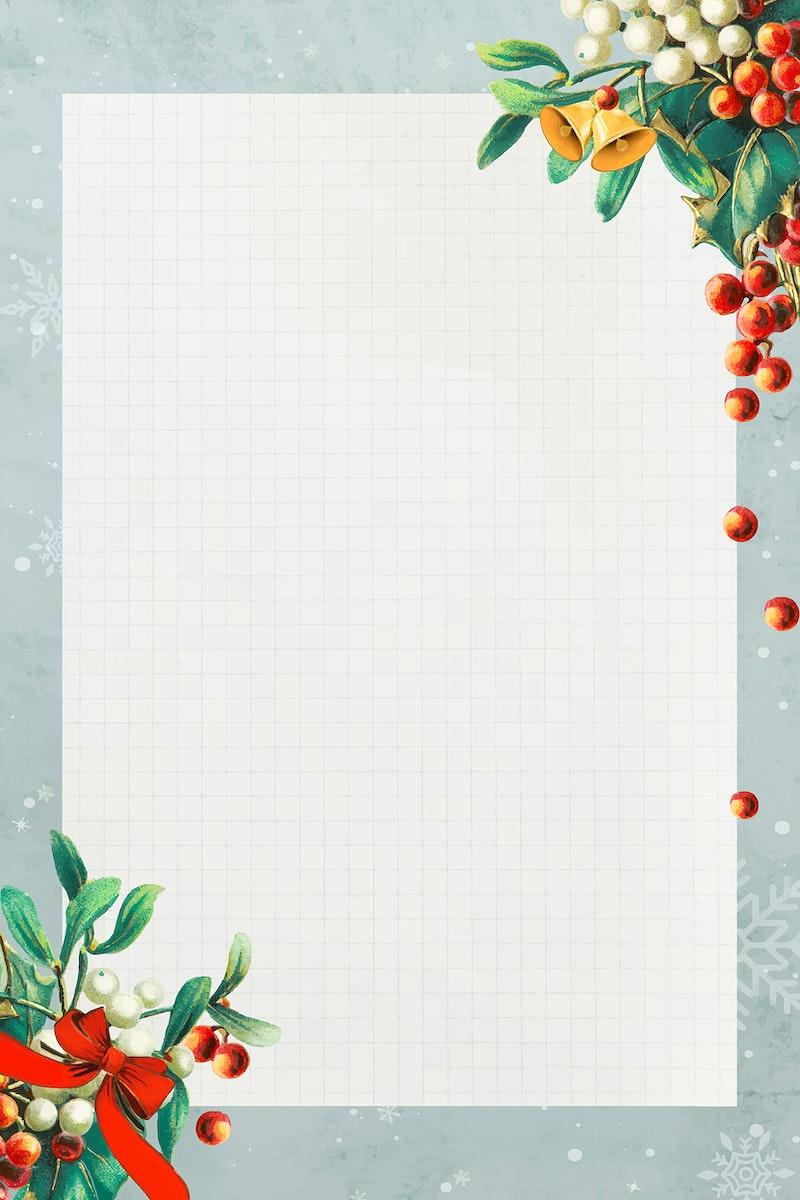 Blank rectangle Christmas frame vector