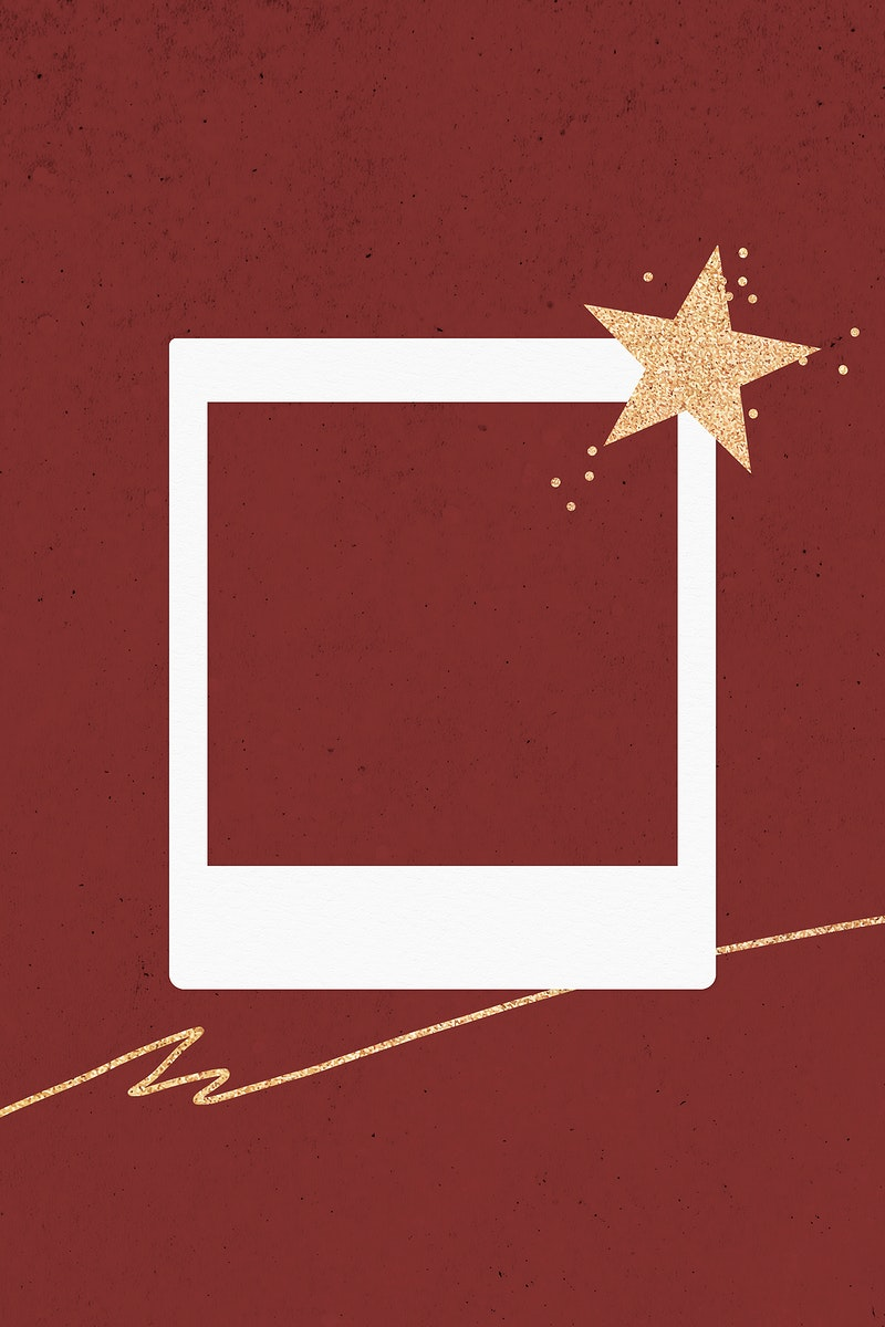 Golden star decorated blank instant photo frame vector