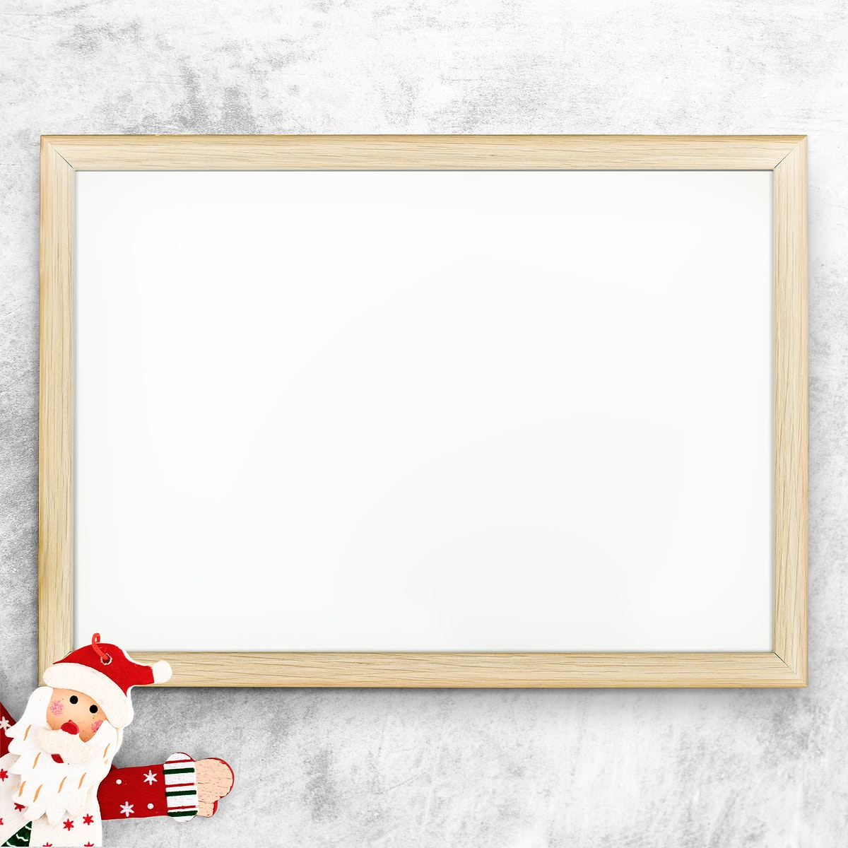 Wooden frame mockup with Christmas decorations