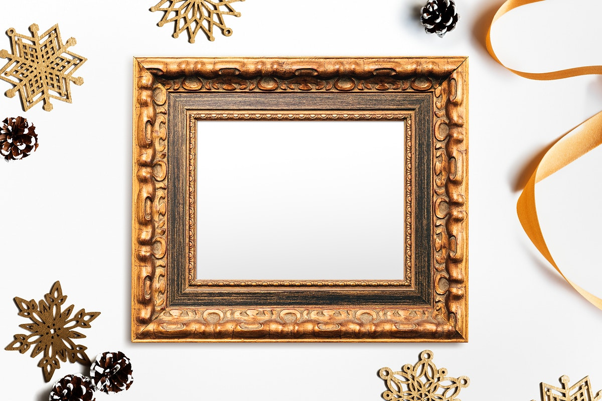 Luxurious gold frame mockup with Christmas decorations