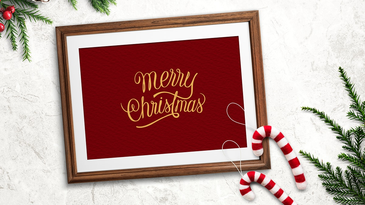 Merry Christmas sign wooden Frame with decorations