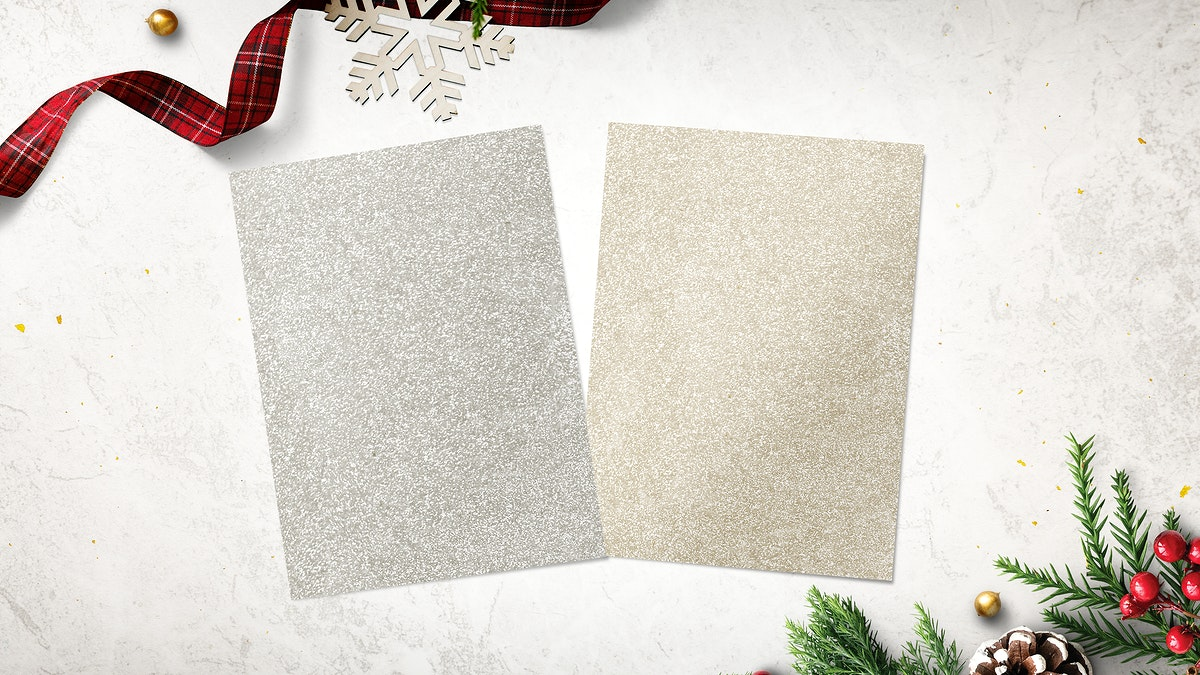 Gold and silver papers mockup with Christmas decorations