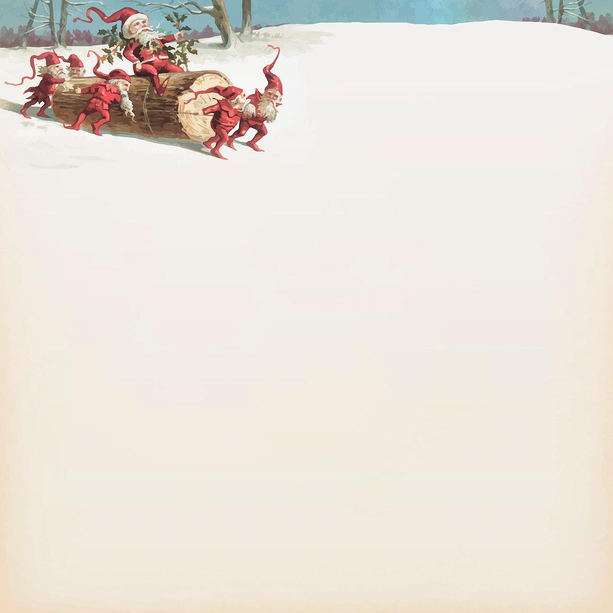 Santa elves sliding on a log from the public domain Christmas vintage illustration vector