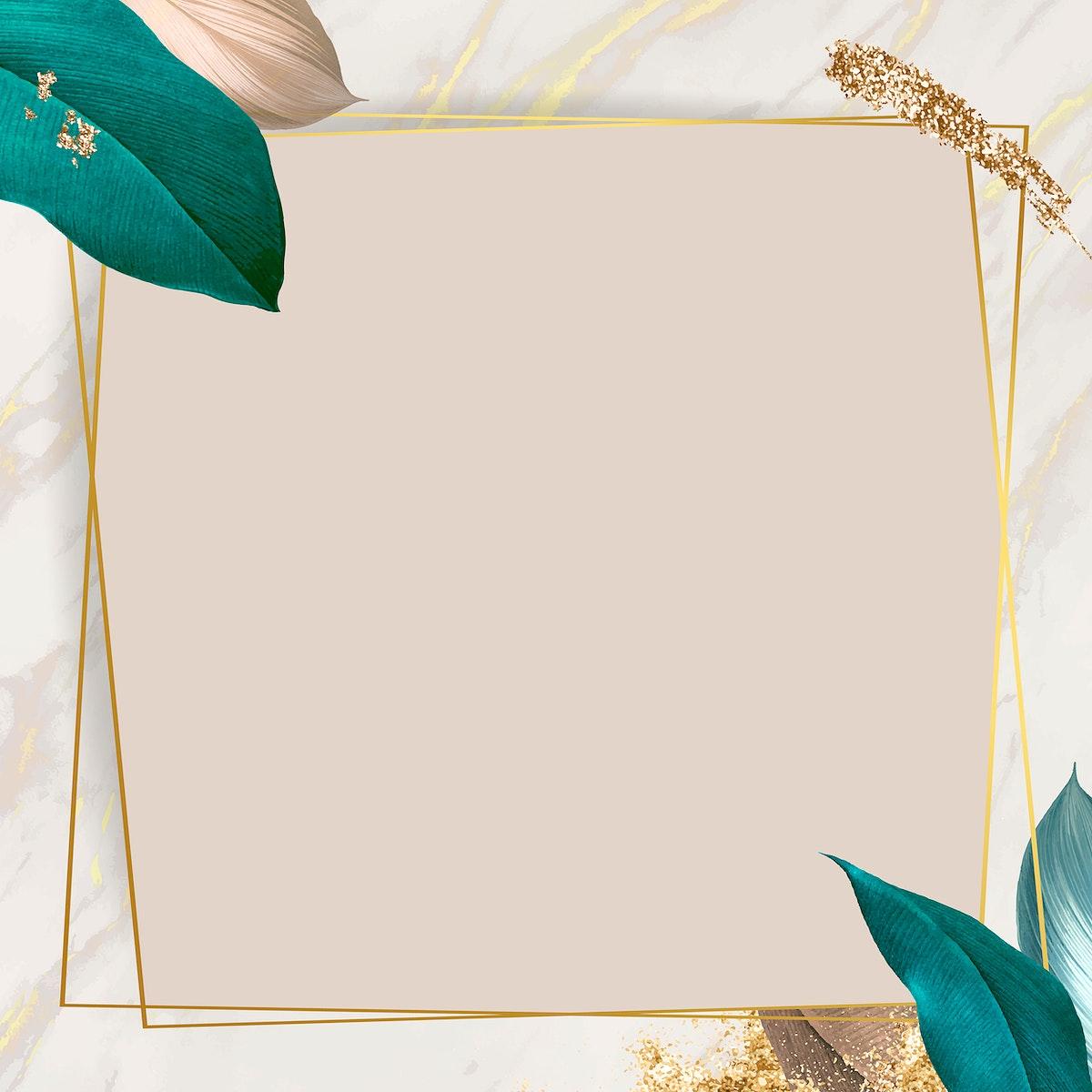 Botanical rectangle frame design vector