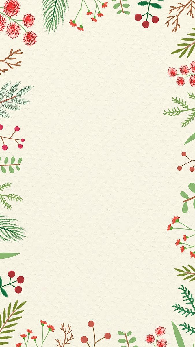 Christmas vintage frame design mobile phone wallpaper vector