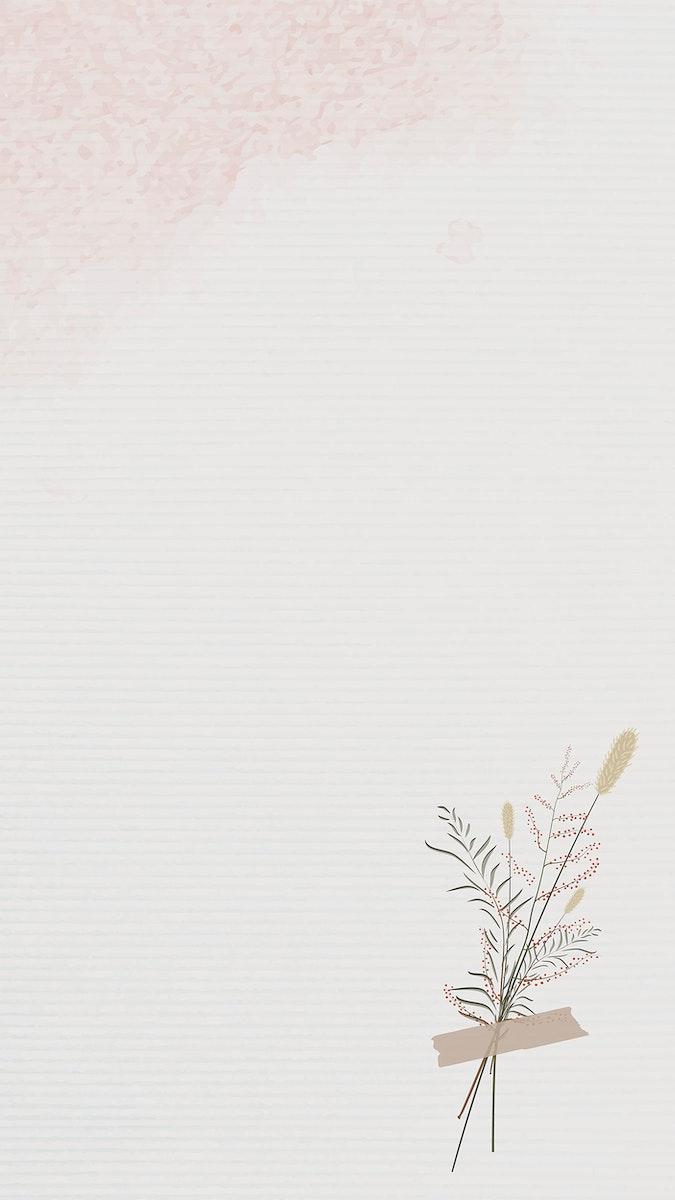 Vintage leaves design background mobile phone wallpaper vector