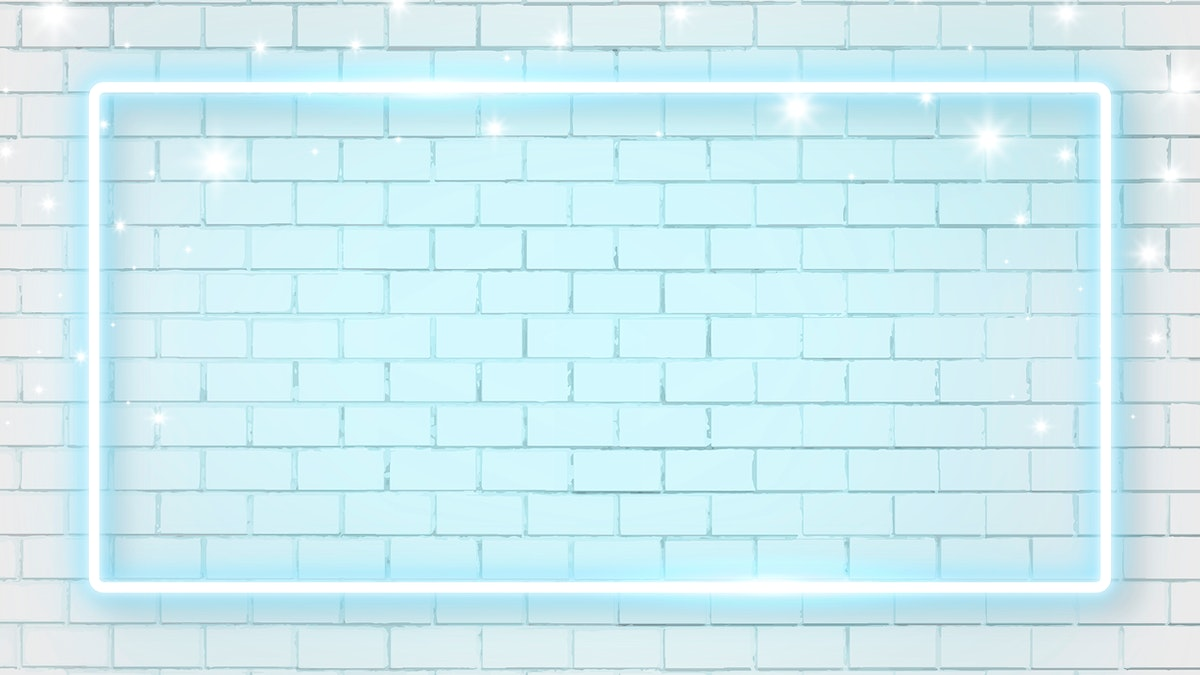 Blue neon frame on brick wall background vector