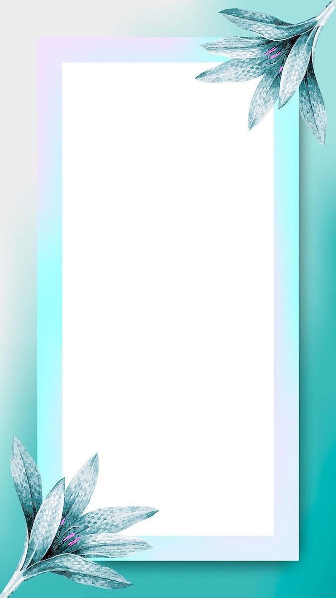 Blue rectangle floral frame mobile phone wallpaper vector