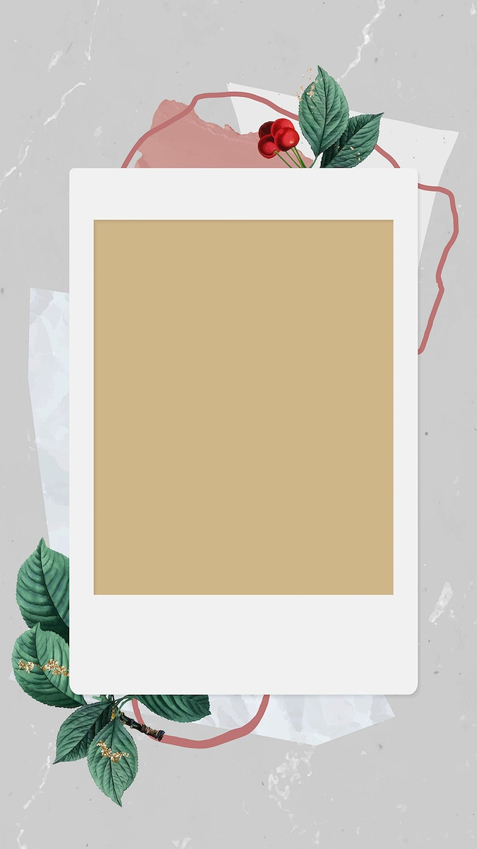 Christmas decorated blank instant photo frame mobile phone wallpaper vector