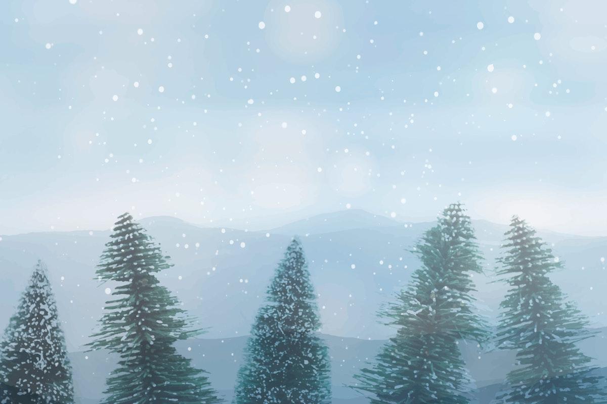 Snowy pine tree design space wallpaper vector