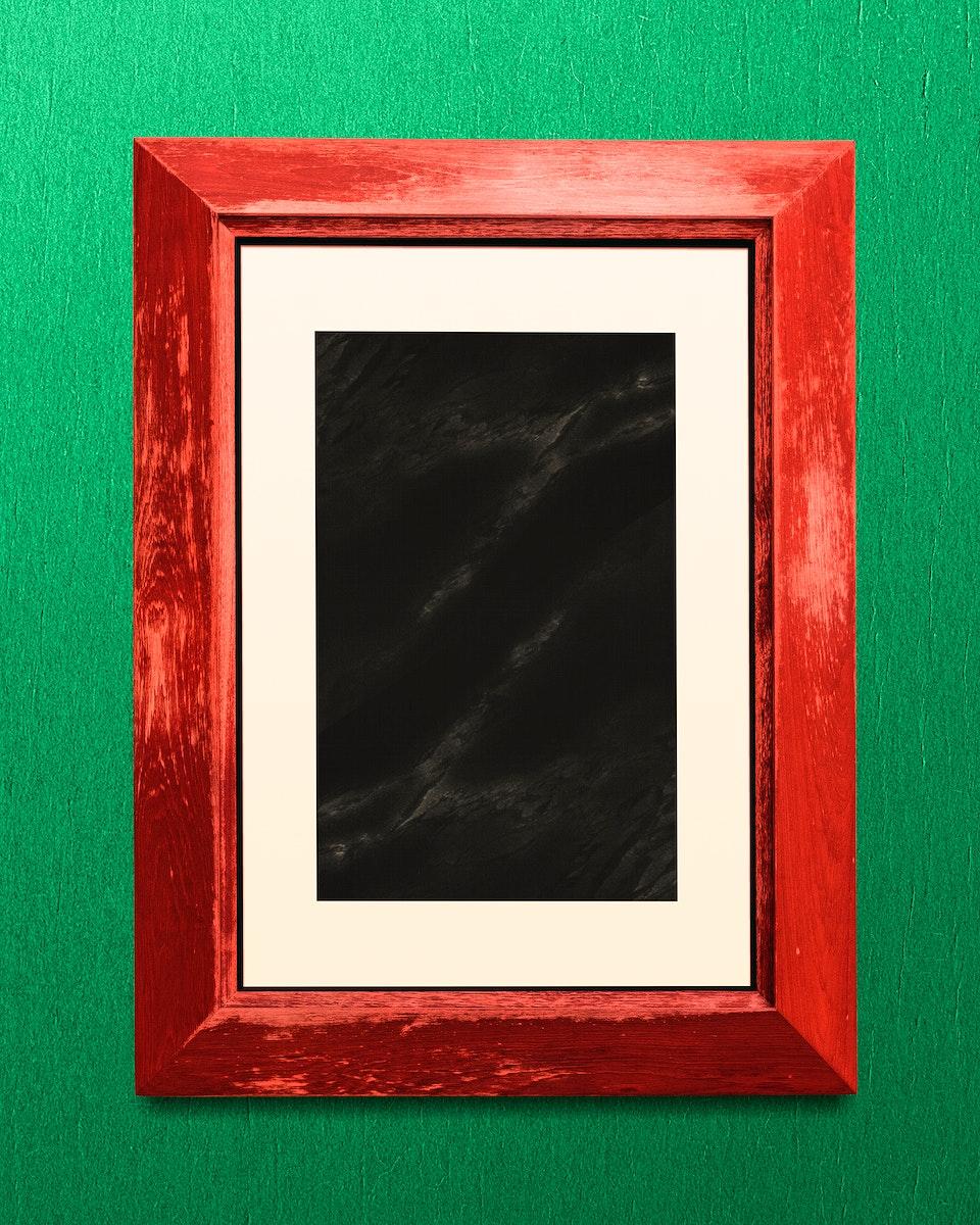 Red photo frame mockup