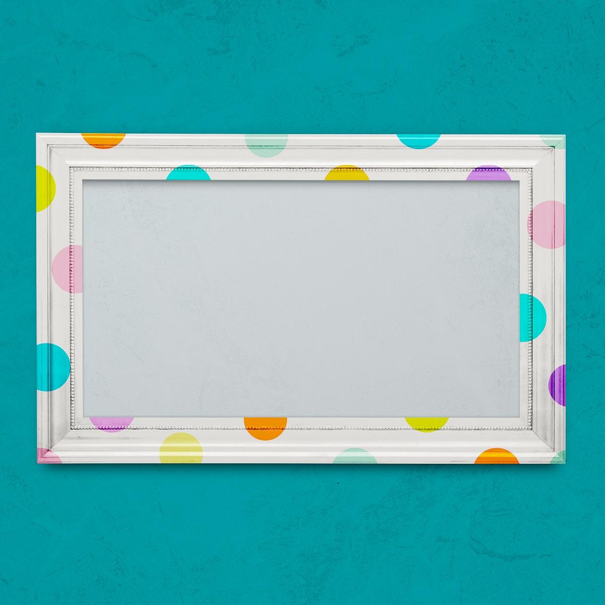 Polka dot photo frame mockup