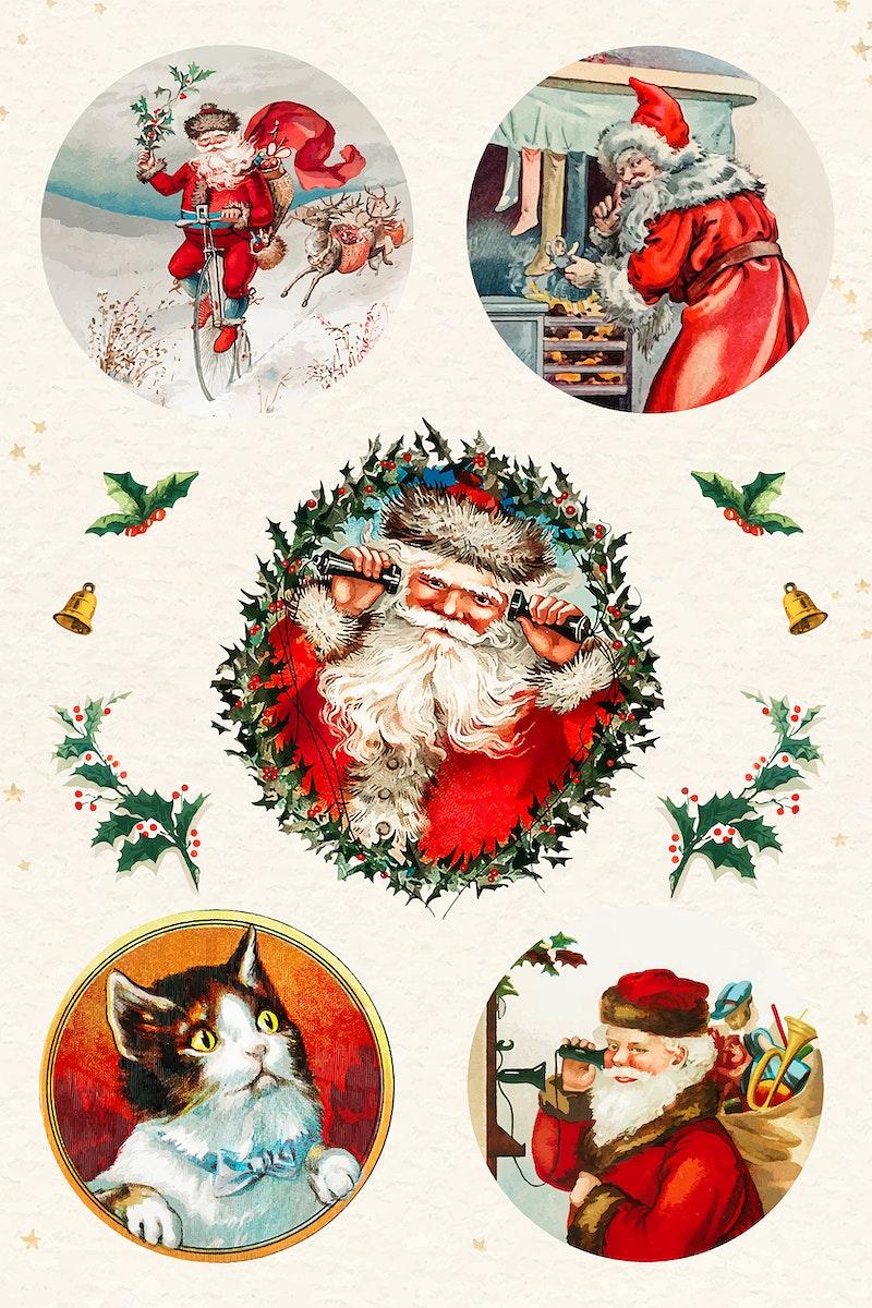 Christmas sticker set vector