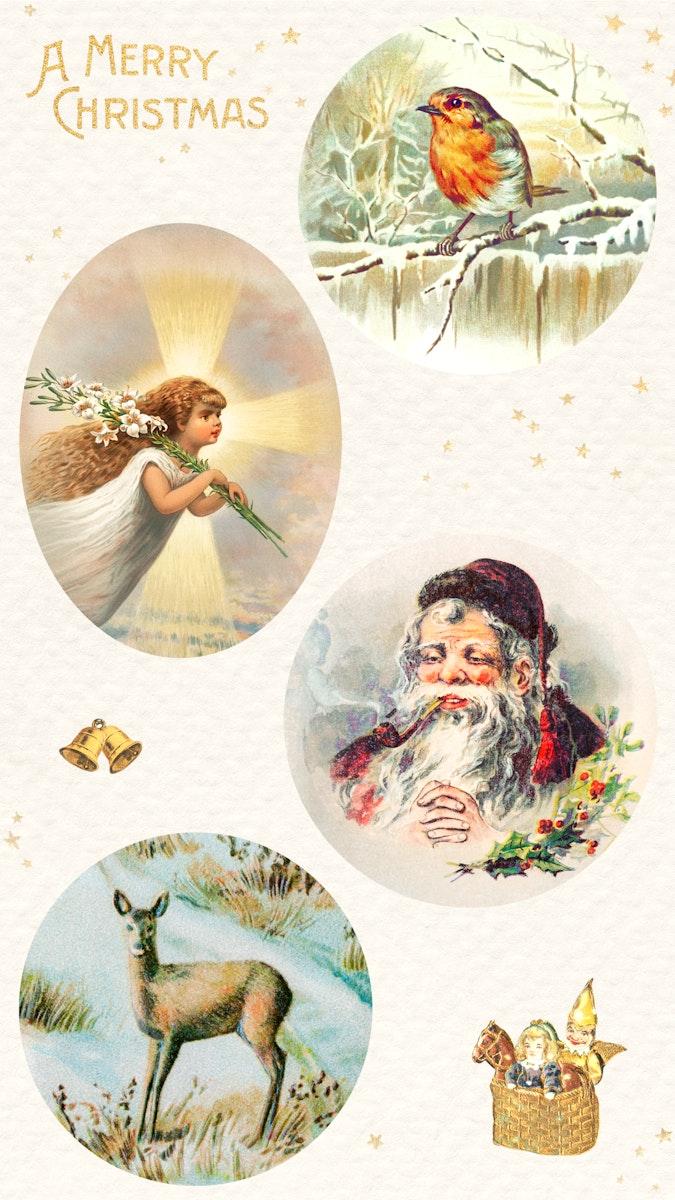 Christmas sticker set illustratoin