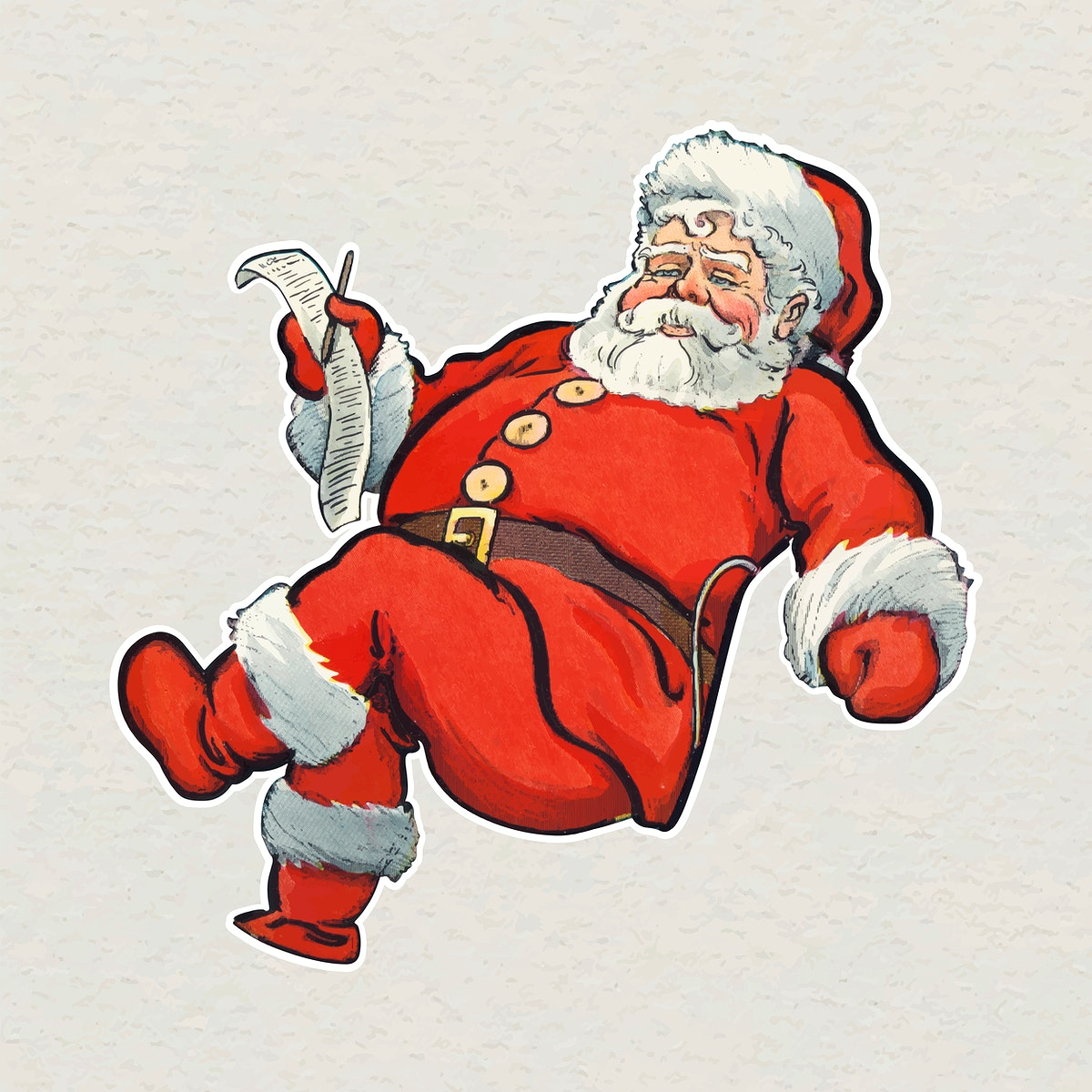 Santa Claus with a list on his hand sticker vector