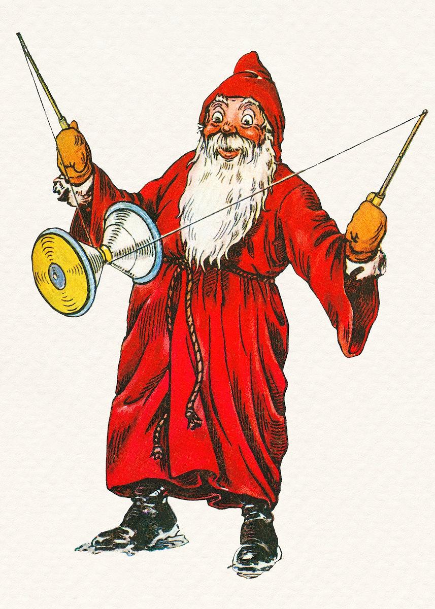 Santa Claus playing a diabolo sticker illustration
