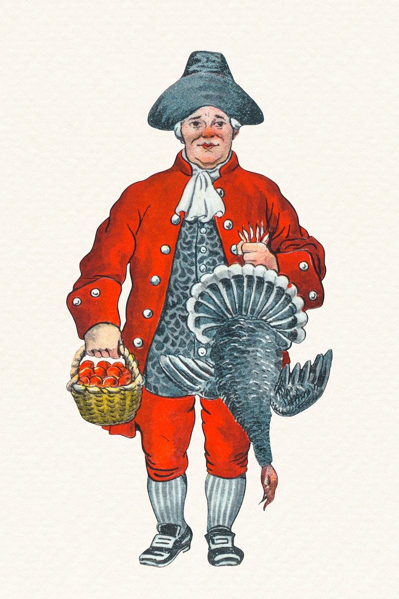 Man holding a dead turkey for Christmas dinner sticker illustration