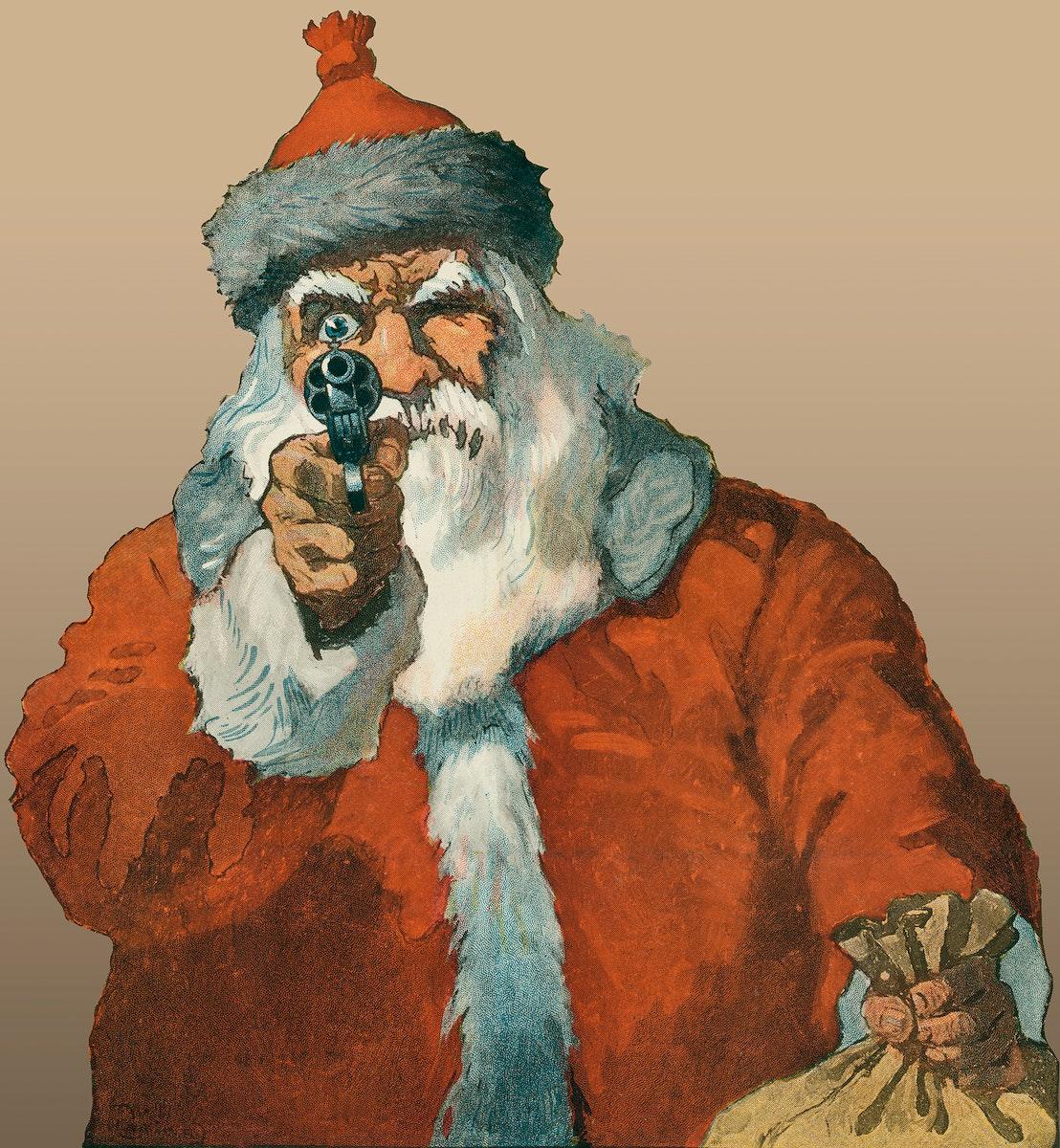 Santa Claus aiming a handgun illustration