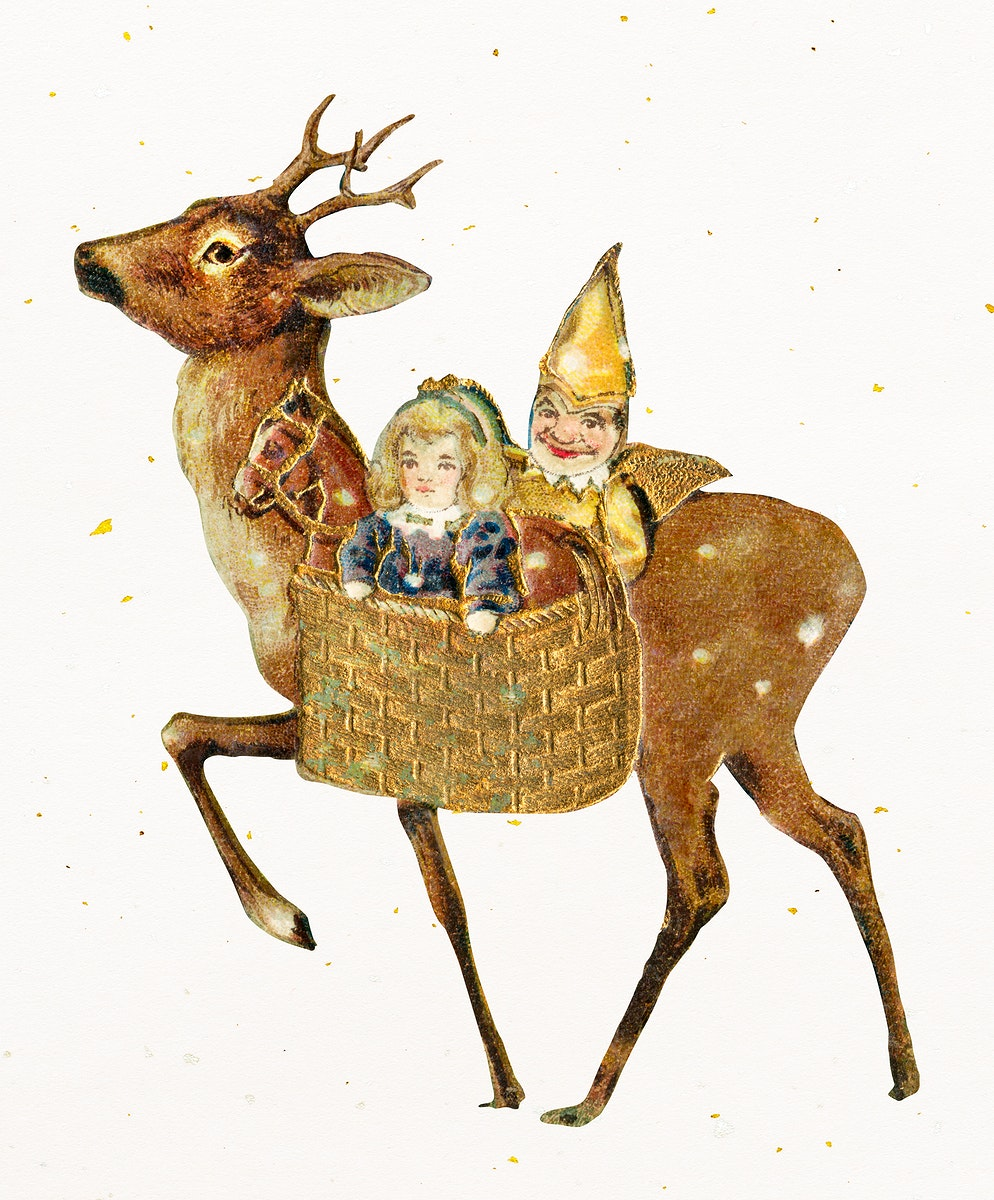 Reindeer and basket of toys