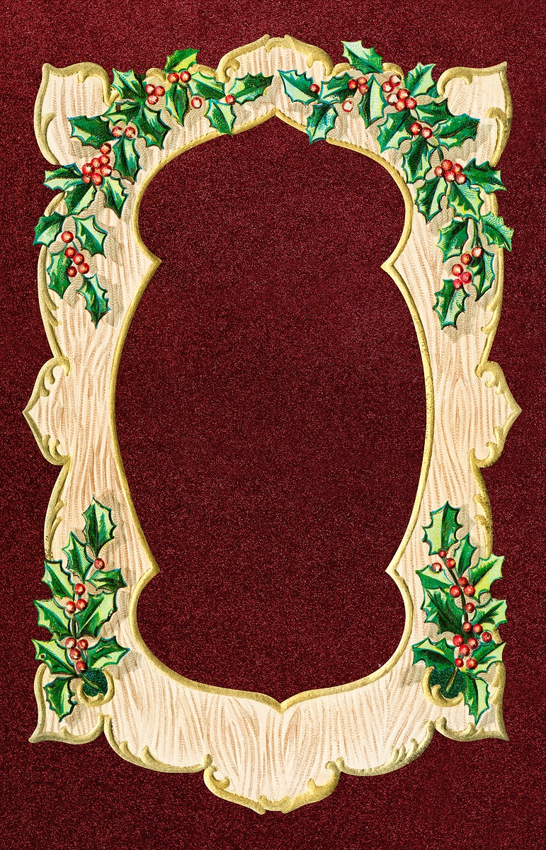 Blank wooden frame with leaves sticker illustration