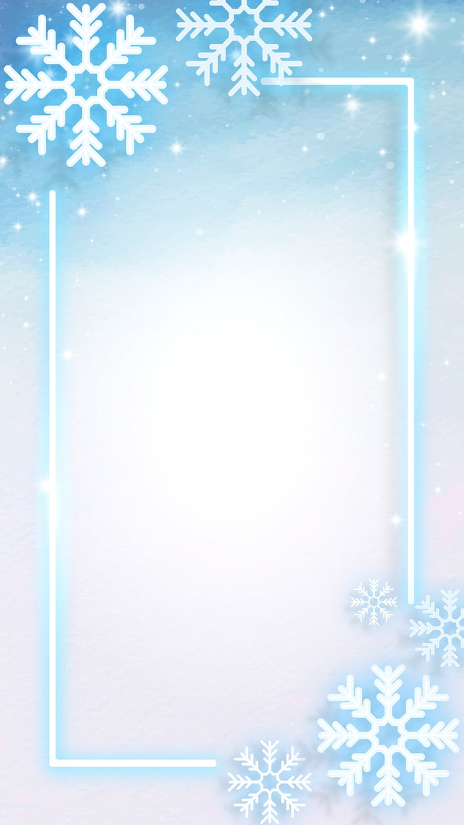 Blue neon frame decorated with snowflakes  mobile phone wallpaper vector
