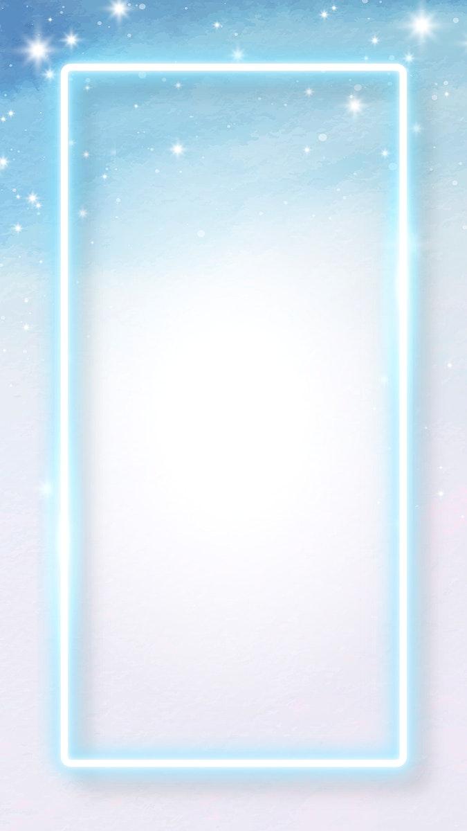 Blue neon frame on snowy  mobile phone wallpaper vector