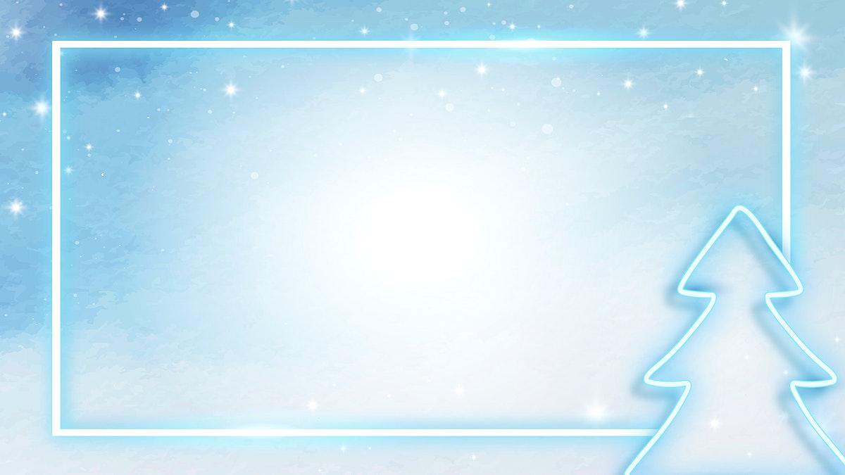 Blue neon Christmas tree frame vector