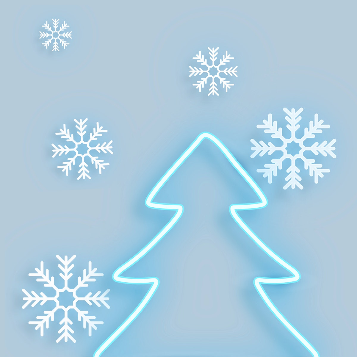 Blue neon Christmas tree illustration