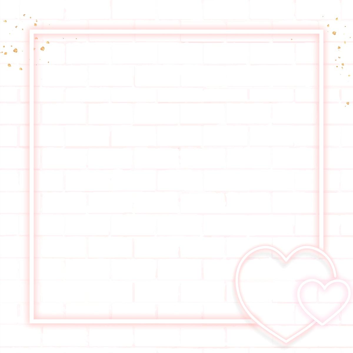 Pink neon Valentine's frame illustration