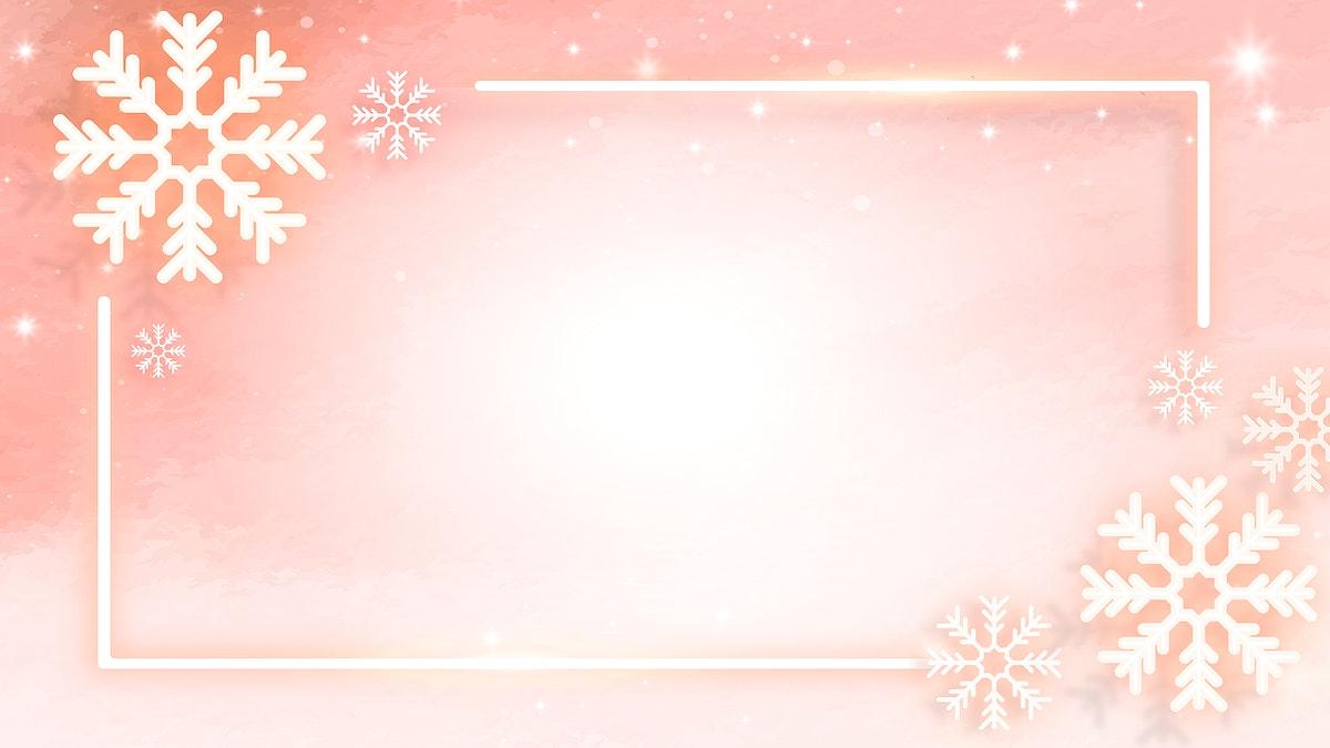 Orange neon snowflake frame social banner vector