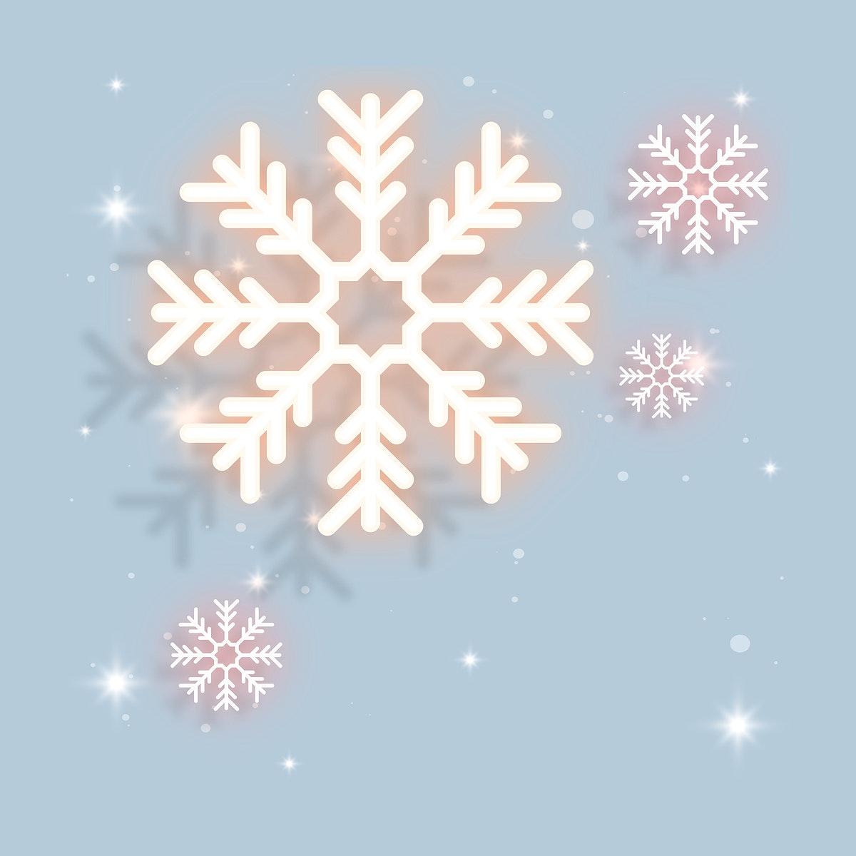 Orange neon snowflakes illustration