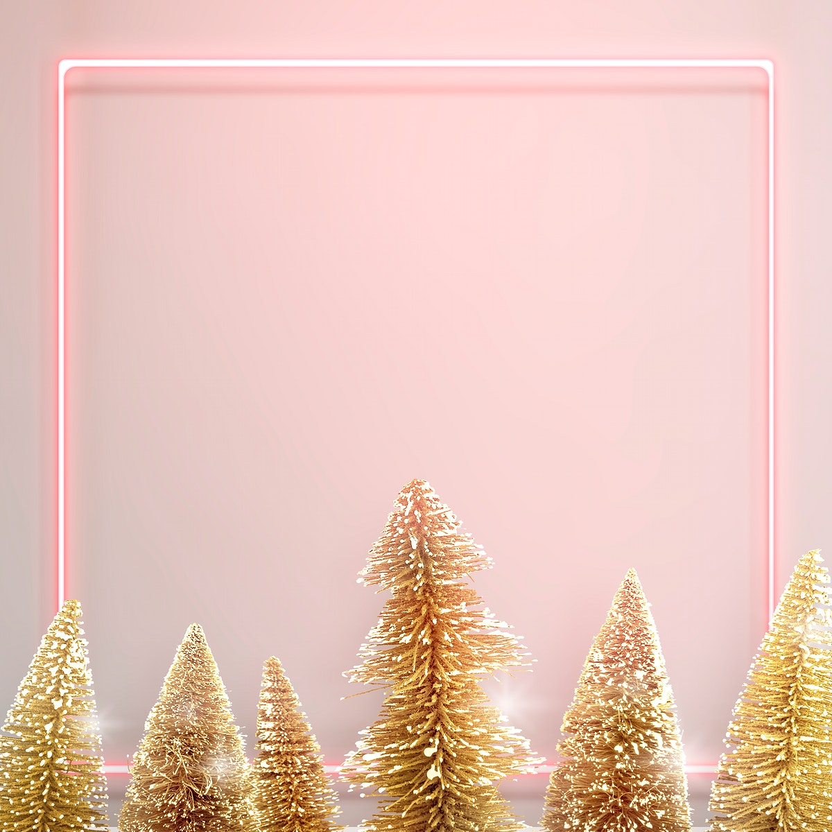 Pink neon frame with gold Christmas trees background illustration