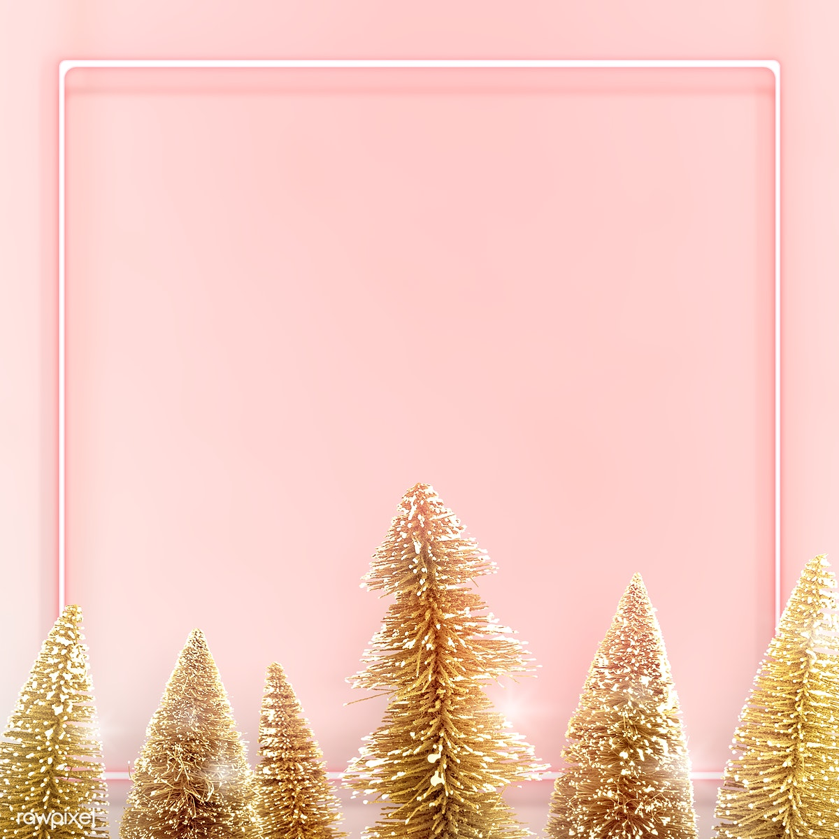 Download Premium Png Of Pink Neon Frame With Gold Christmas Trees