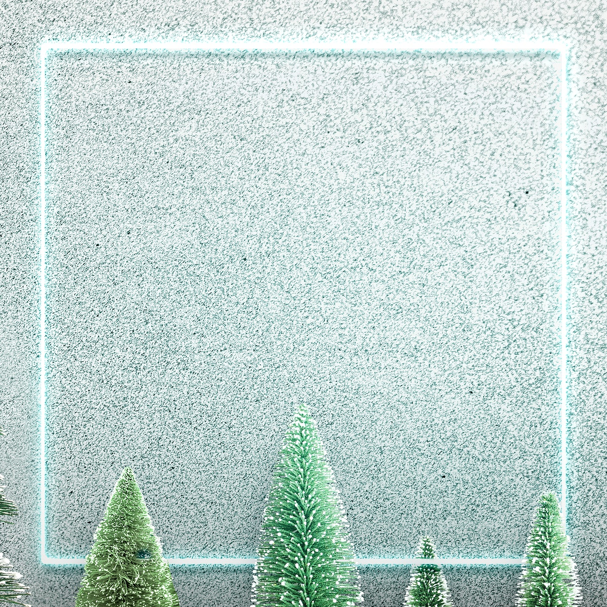 Green neon frame on snowy Christmas background illustration