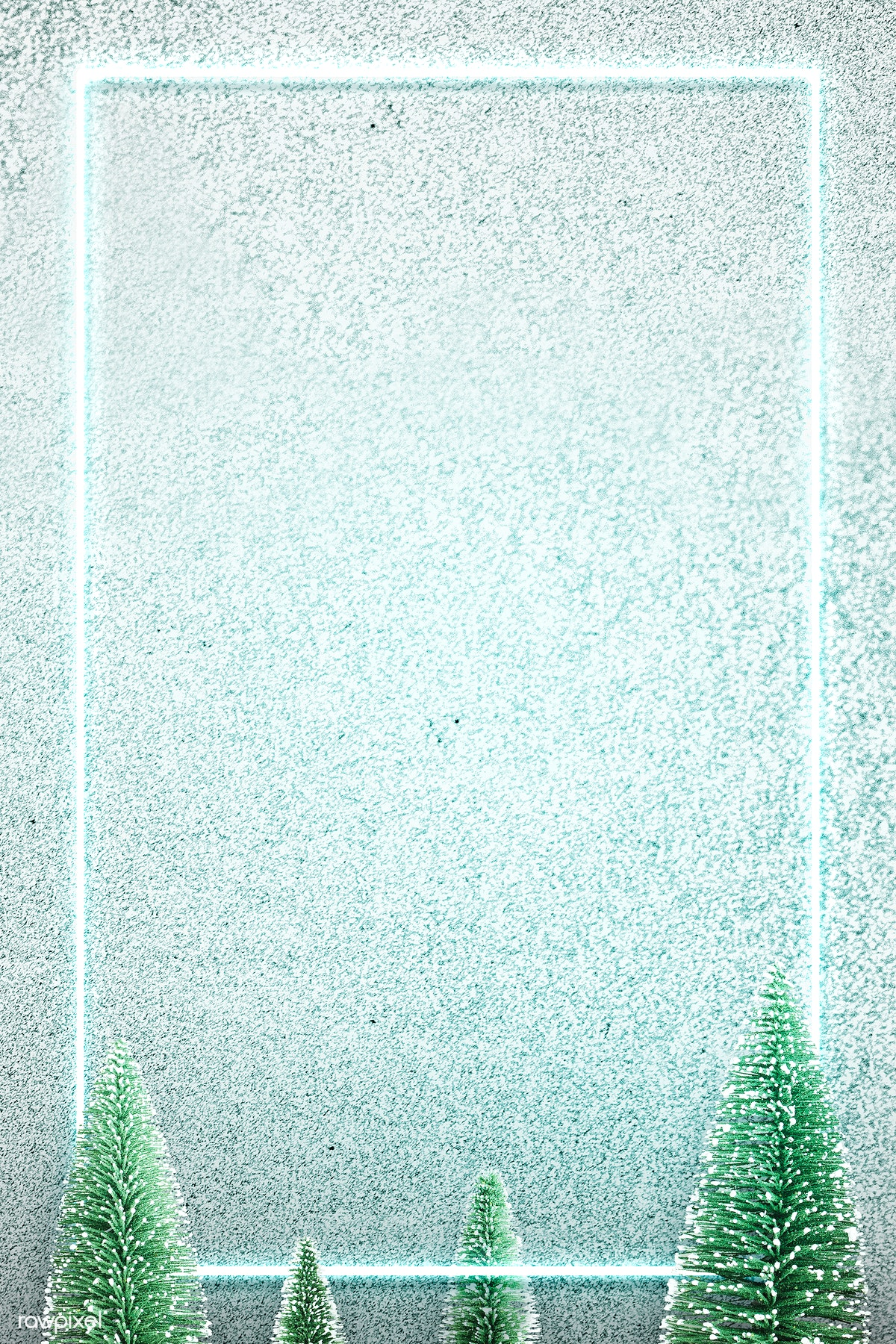 Christmas Background Pic.Download Premium Image Of Green Neon Frame On Snowy Christmas Background