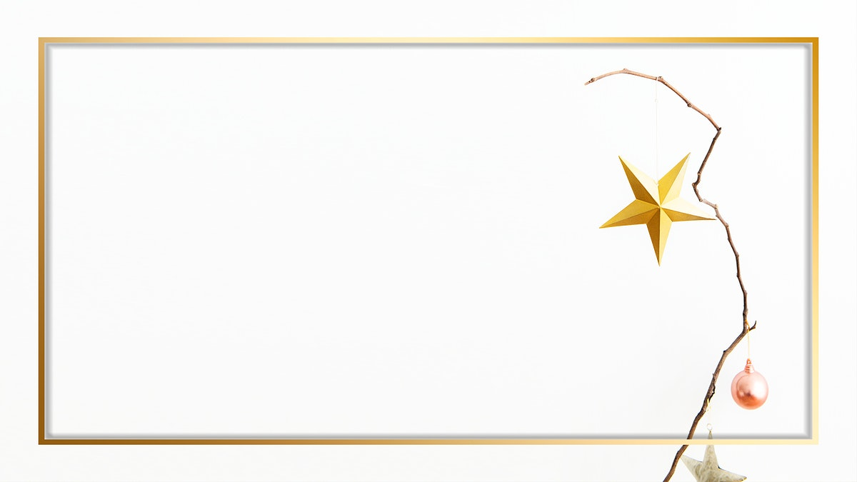 Gold frame with Christmas star illustration