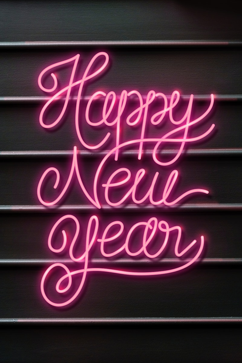 Pink neon  New Year background illustration