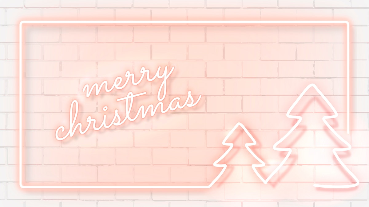 Pink neon Christmas social banner vector