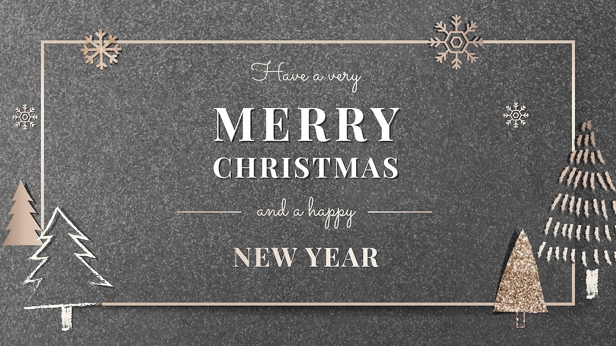 Christmas gold frame social banner vector