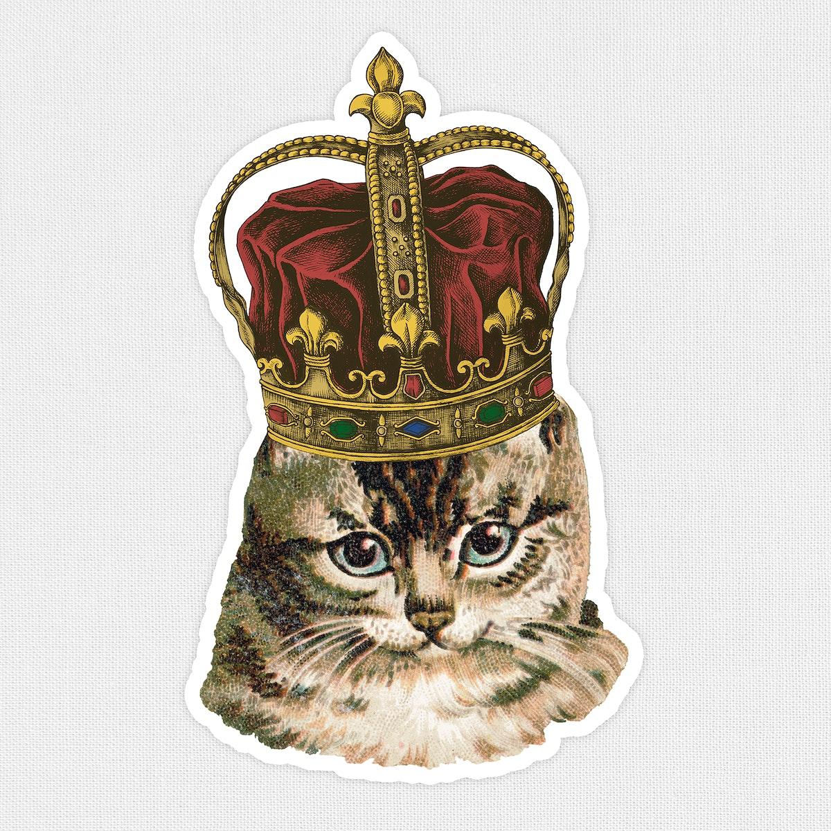 Cat wearing a crown sticker illustration