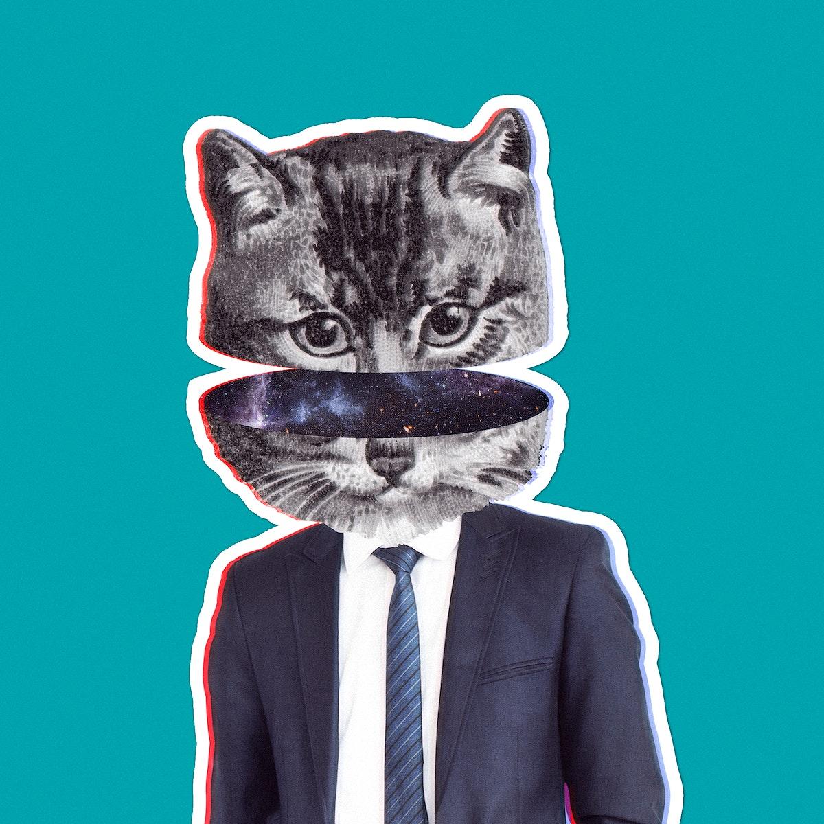 Cat wearing a suit sticker illustration