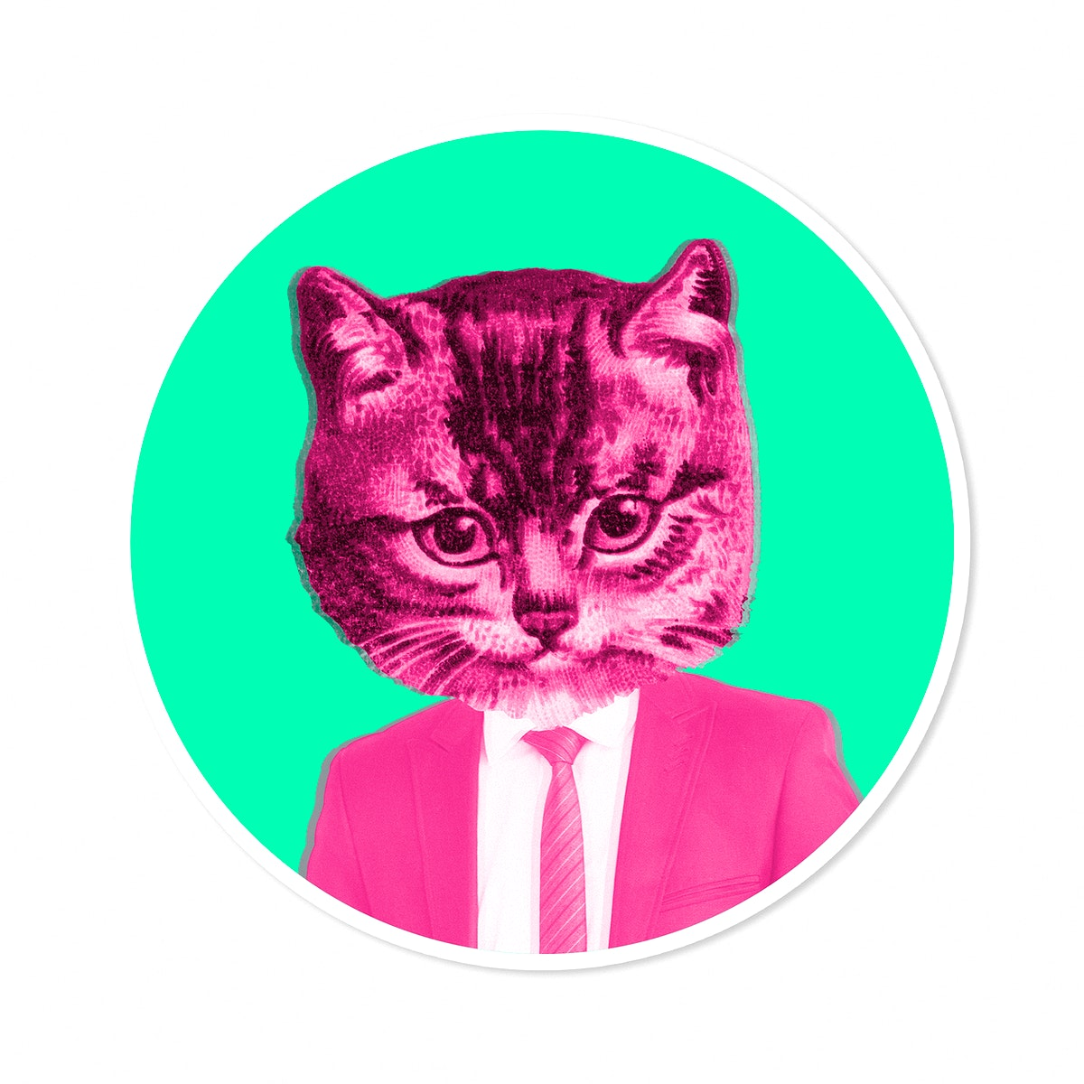 Cat wearing a pink suit sticker illustration