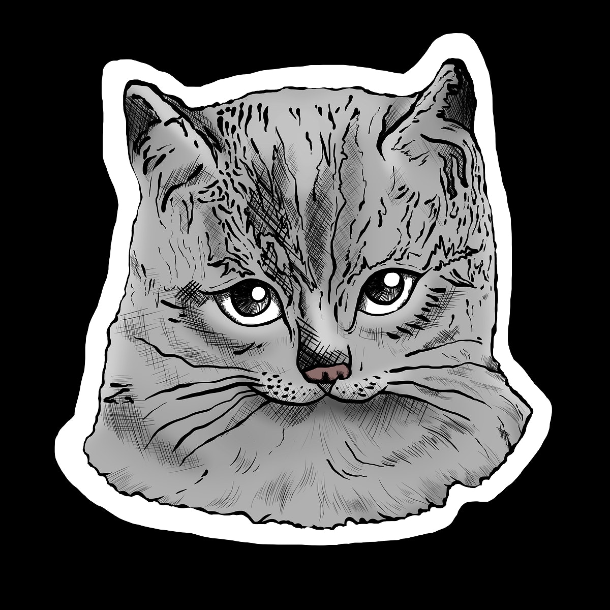 Hand drawn gray cat sticker illustration