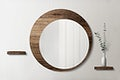 Circle mirror with a wooden backdrop mockup