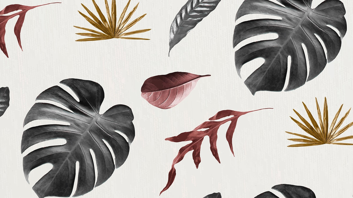Tropical leaf seamless patterned background vector