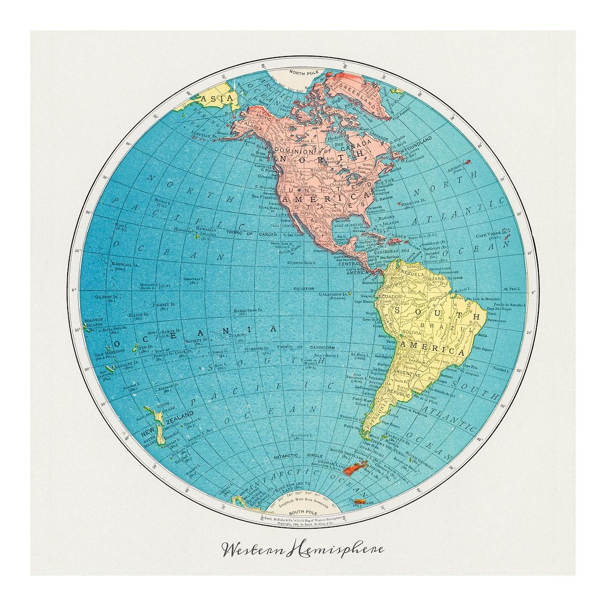 Western Hemisphere map vintage illustration wall art print and poster design remix from original artwork.