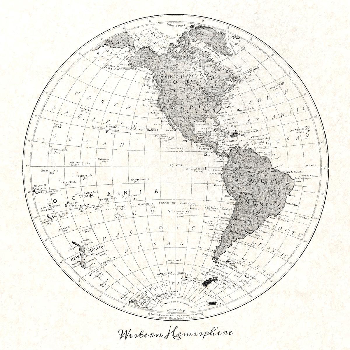 Western Hemisphere map vintage illustration vector, remix from original artwork.