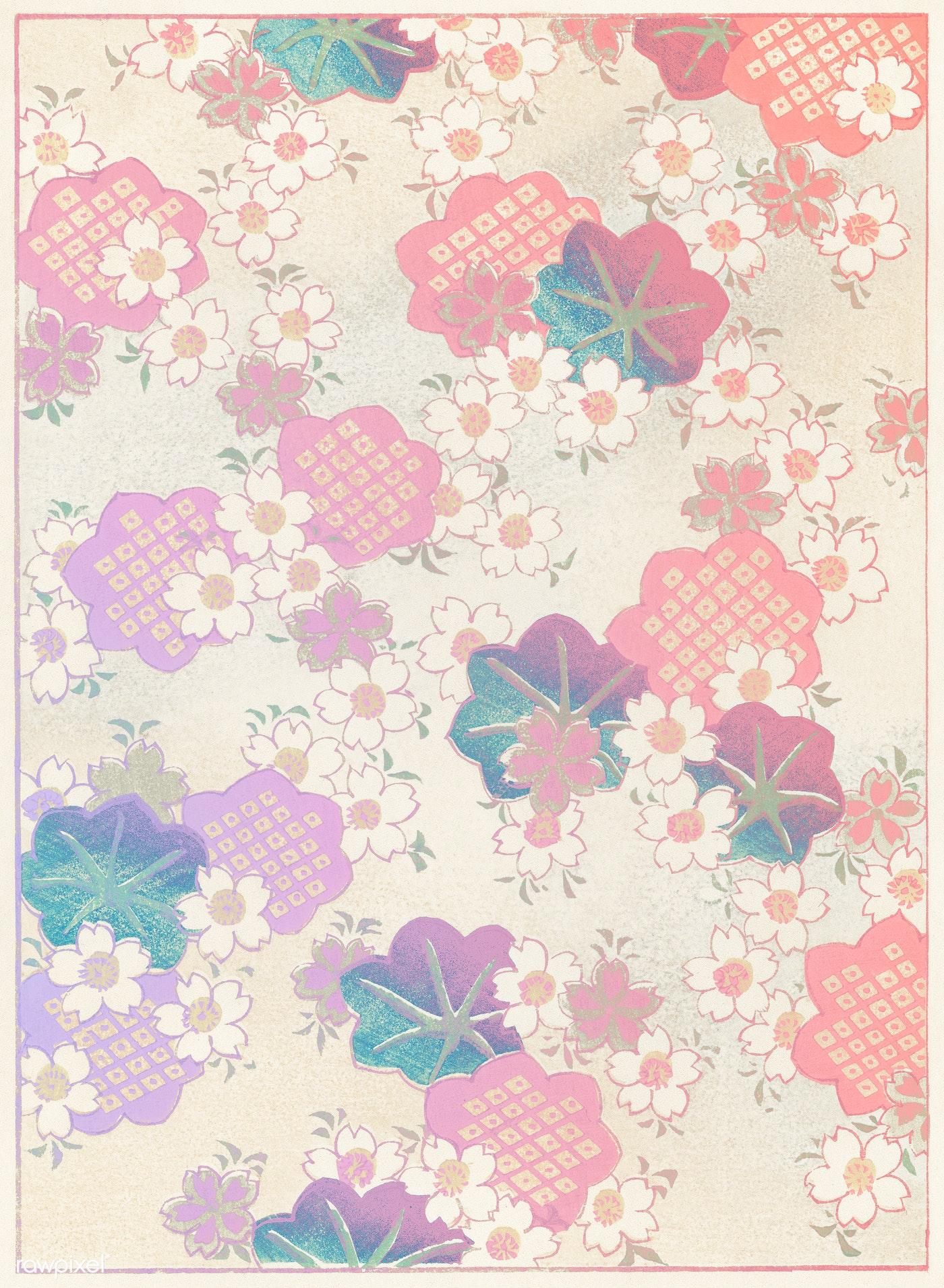 Pastel Floral Pattern Vintage Illustration Remix From Original