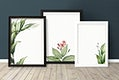 Floral frame mockup against a wall