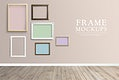 Various frame mockups against a pink wall